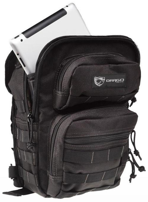 """Drago Gear Sentry Pack for iPad Backpack 600D Polyester 13""""x10""""x7"""" Black"""