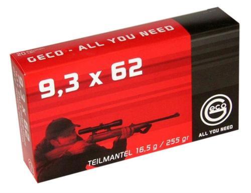 Geco 9.3x62mm Mauser 255gr, Soft Point, 20rd/Box