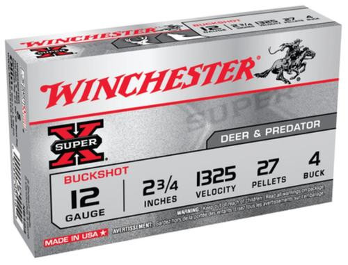 "Winchester Super-X Buckshot 12 Ga, 2.75"", 27 Pellets, 4 Buck Shot, 5rd Box"