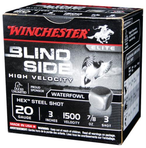 "Winchester Blindside High Velocity 20 Ga, 3"", 7/8oz, 3 Shot, 25rd/Box"