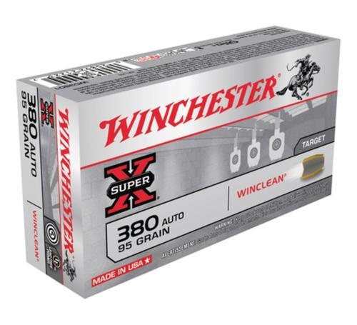 Winchester WinClean 380 ACP Brass Enclosed Base 95gr, 50Box/10Case