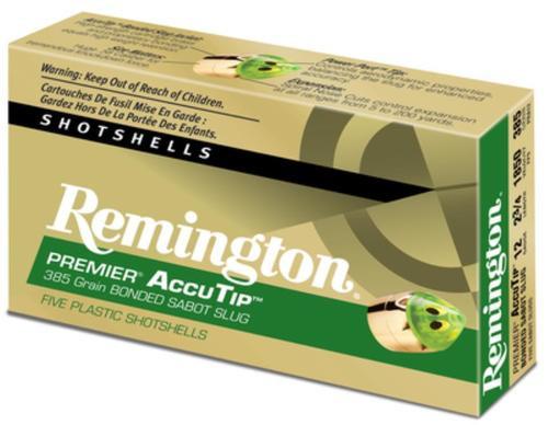 Remington Premier Accu-Tip Bonded Sabot Slug 12 Gauge 3 Inch 1900 FPS 385gr, Power Port Tip, 5rd/Box