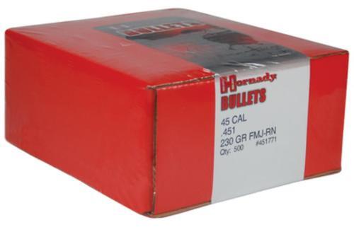 Hornady Match Pistol Bullet .451 Diameter 230 Gr, Hap, FMJ Round Nose, 500/Box