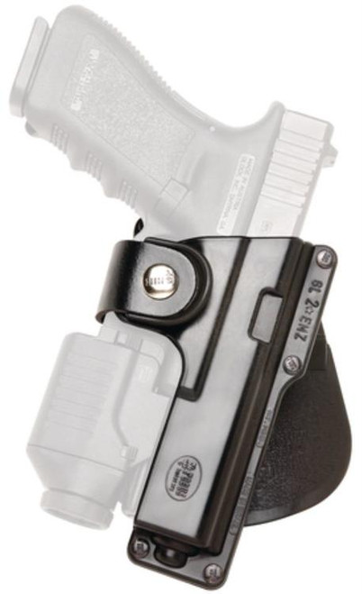Fobus Roto Paddle Holster, Fits Glock 19/23/32, S&W 99 Compact, M&P Compact With Laser or Light, Right Hand, Kydex, Black