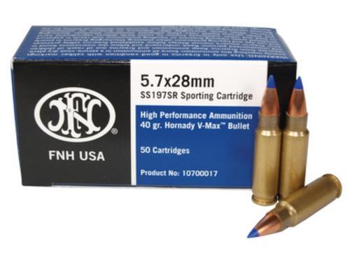 FN 5.7x28mm SS197 V-MAX Ammo, 40gr, 50rd Box
