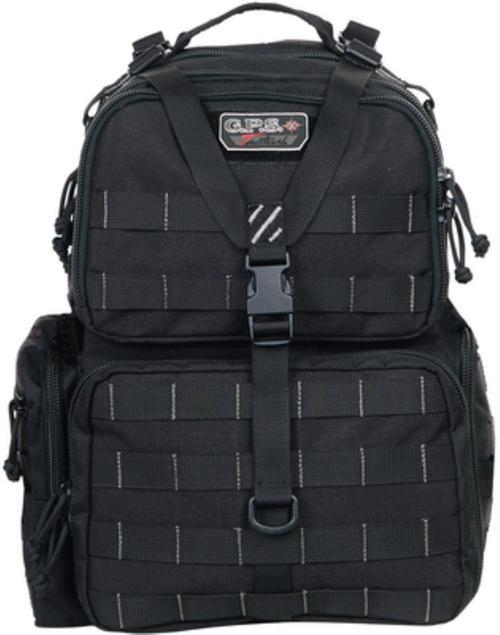 GPS Tactical Range Backpack, Black, Visual ID Storage System, External Bungee, Rain Cover, YKK Locking Zipper For Handgun