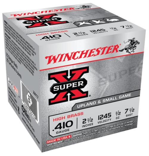 "Winchester 5 Super-X High Brass 410 Ga, 2.5"", 1/2oz, 7.5 Shot, 25rd Box"