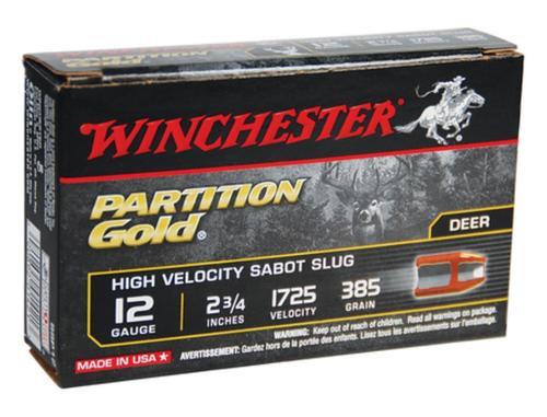 "Winchester Supreme Partition Gold 12 Ga, 2.75"", 385gr, Sabot Slug Shot, 5rd/Box"