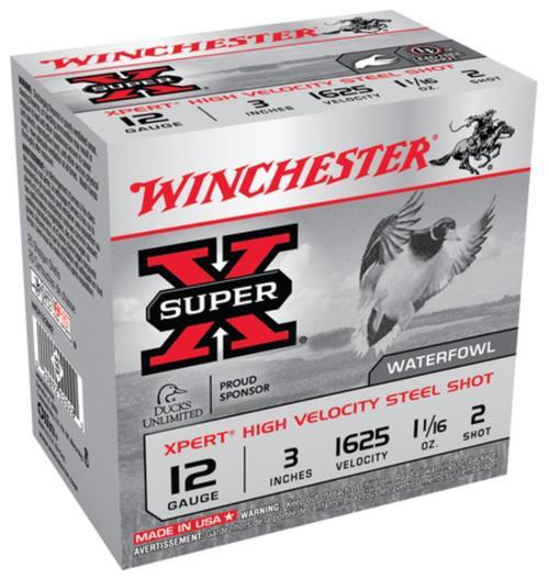 "Winchester Super-X Xpert Steel Waterfowl 12 Ga, 3"", 1625 FPS, 1.0625oz, 2 Steel Shot, 25rd/Box"