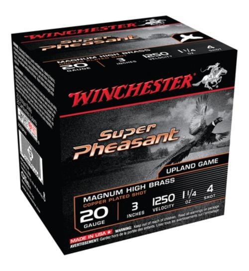 "Winchester Super-X Pheasant 20 Ga, 3"", 1250 FPS, 1.25oz, 4 Shot, 25rd/Box"