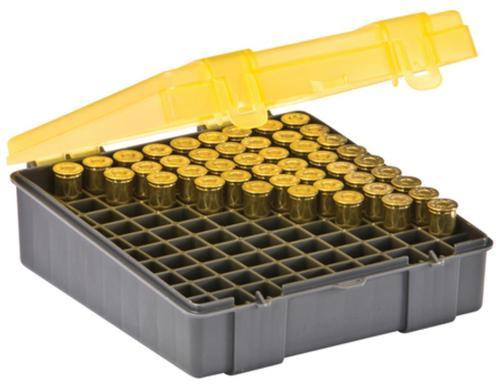 Plano Molding Flip Top Handgun Ammo Case 100rd .41 Mag/.44 Mag/.45 Long Colt, Gray/Amber