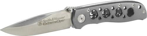"Smith & Wesson Knives Extreme Ops Folder 3.22"" 400 SS Drop Point Plain Silver"