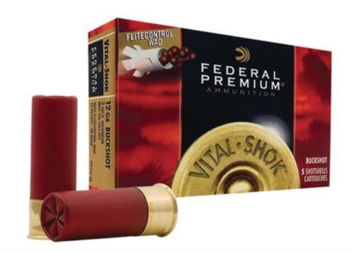 "Federal Premium, FLITECONTROL WAD, 12 Ga 2.75"", 00 Buck, Buckshot, 9 Pellets, 5rd Box"
