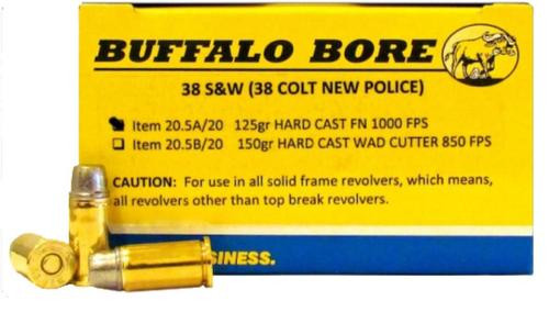 Buffalo Bore 38S&W 125gr, Hard Cast Flat Nose 20rd Box