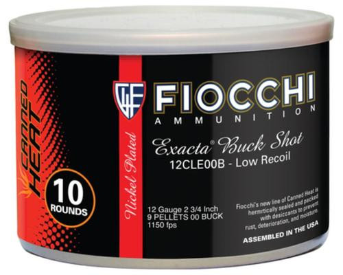 Fiocchi Canned Heat Buckshot 12 Gauge 2.75 Inch 1150 FPS 9 Pellets 00 Buckshot 10 Per Can