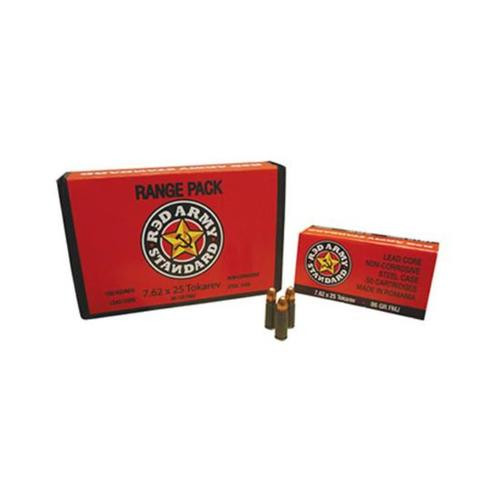 Red Army Standard 7.62x25mm Tokarev, 86 Gr, FMJ, 50rd Box