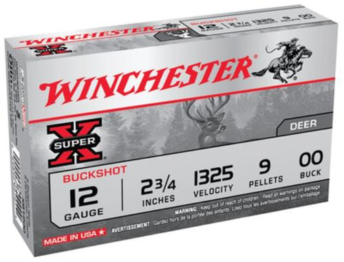 "Winchester Super-X Buckshot 12 Ga, 2.75"", 9 Pellets, 00 Buck Shot, 5rd/Box"