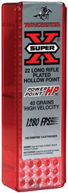 Winchester Super-X 22LR 40gr, Plated Power-Point, 100rd/Box