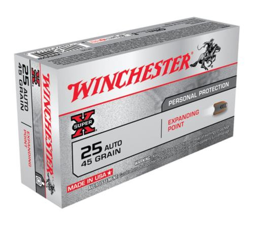 Winchester Super X 25 ACP Expanding Point 45gr, 50rd Box