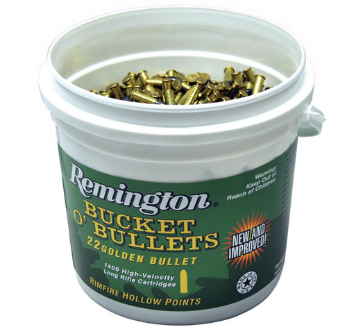 Remington Golden Bullet Bucket, 22LR 36g Hollow Point, Plated, 1400 Rounds
