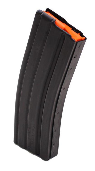 DURAMAG Magazine, 223 Rem/556NATO, 30Rd, Black, Fits AR Rifles, Aluminum, Orange Anti-Tilt AGF Follower