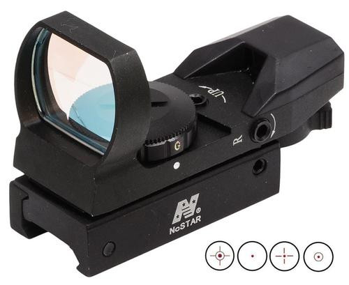 NCStar Red-Dot 1x24x34mm Obj Unlimited Relief & FOV, Red/Green, 3MOA Dot, 4 Reticle, Black