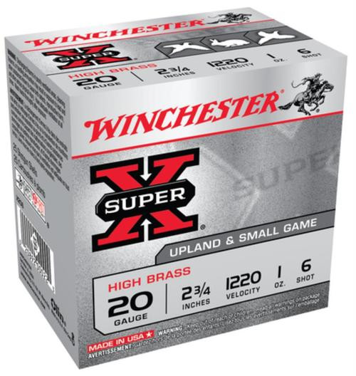 "Winchester Super-X High Brass 20 ga 2.75"" 1 oz 6 Shot 25Box/10Case"