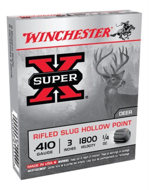 "Winchester Super-X 410 Ga, 3"", 1800 FPS, .25oz, Rifled Slug, 5rd/Box"