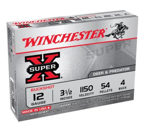 "Winchester Super-X Buckshot 12 Ga, 3.5"", 54 Pellets, 4 Buck Shot, 5rd/Box"