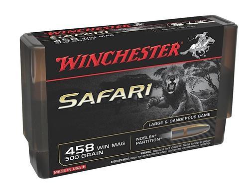 Winchester Supreme .458 Win Mag 500 Gr, Nosler Partition, 20rd Box,10 Box/Case