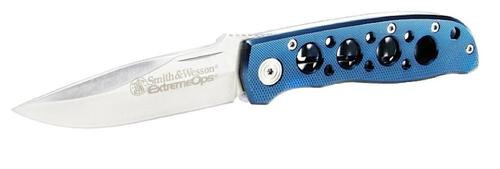"Smith & Wesson Knives Extreme Ops Folder 3.22"" 400 SS Drop Point Plain Blue"