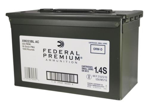 Federal American Eagle .223 Remington, 55gr, Full Metal Jacket Boattail, 1000rd/Case