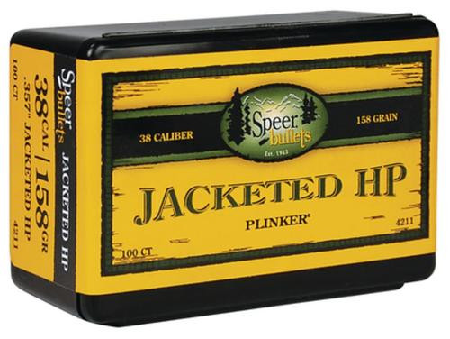 Speer Bullet .38 Caliber .357 158 Gr, Jacketed Hollow Point, 100/Box