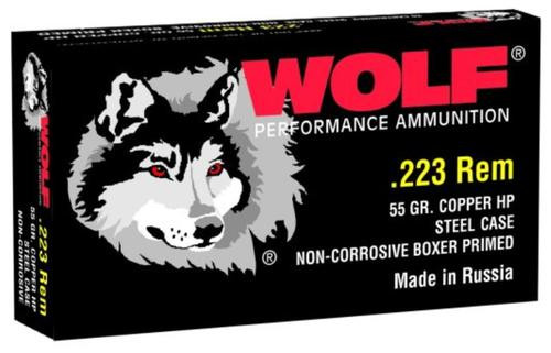 Wolf .223 Rem/5.56mm 55 Gr, Bimetal Jacket, Steel Case, 500rd/Box