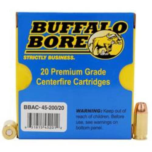 Buffalo Bore 45 ACP +P, 200 Gr, JHP, 20rd Box