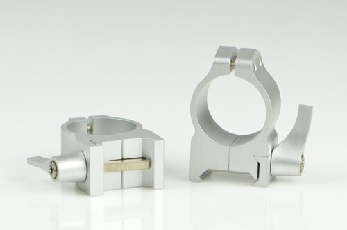Warne 1 Inch, QD Medium Silver Rings, Steel, Fixed for Maxima/Weaver Style or Picatinny Bases