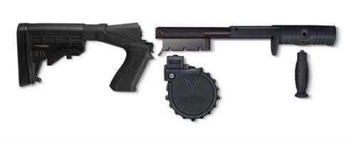Adaptive Tactical Sidewinder Venom Kit, 10 Round Rotary Drum Magazine, Includes M4 Stock, for Mossberg 500/88, Black