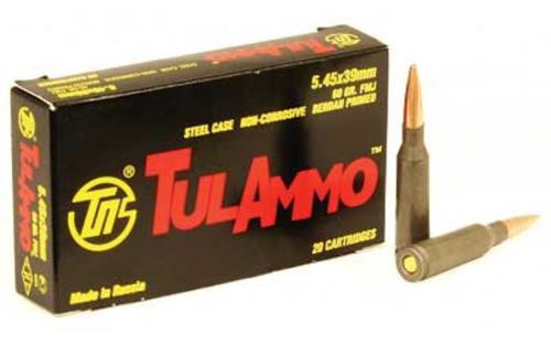 TulAmmo 5.45x39mm 60gr, FMJ, Steel Case, 20rd Box