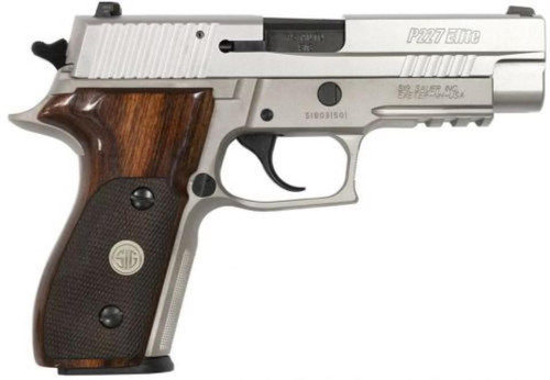 "Sig P227 AS Elite 45 ACP, 4.4"", Stainless, SigLite, Wood Grips, 10rd+1"