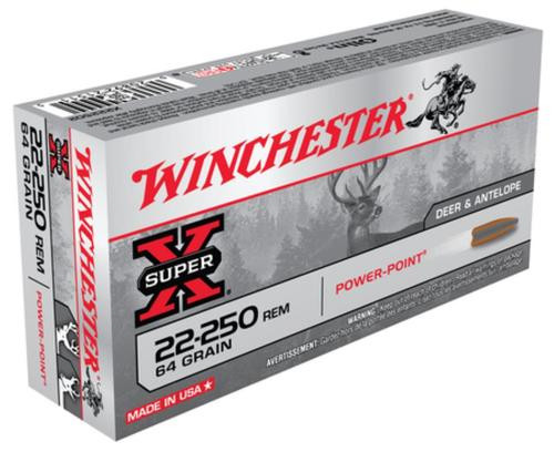 Winchester Super-X .22-250 Remington 64gr, Power Point 20rd Box