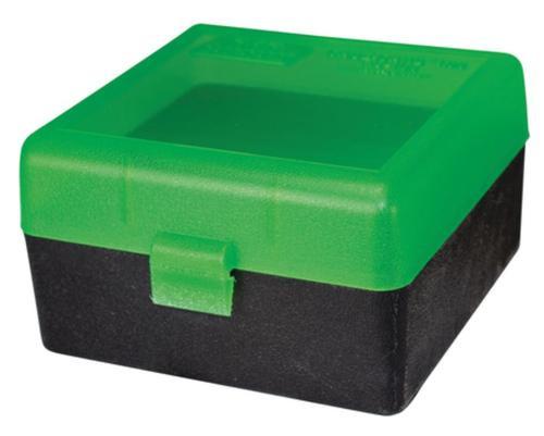 MTM Case Gard RS-100 Rifle Ammo Box .17 to .222 Magnum Clear Green/Black