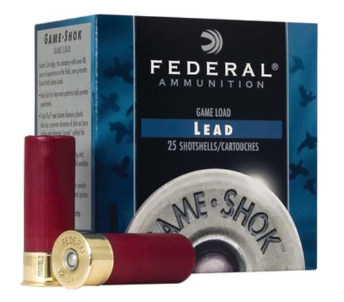 "Federal Game Shok High Brass Lead 12 Ga, 2.75"", 1-1/4oz, 5 Shot, 25rd/Box"