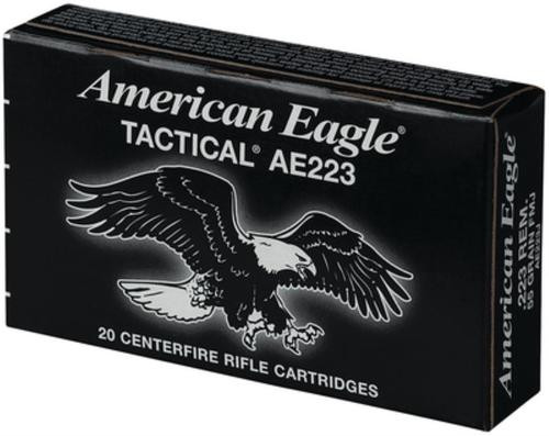 Federal 223 AMMO AE TACTICAL, 55 GR. FMJ-BT 20rd Box 3240FPS