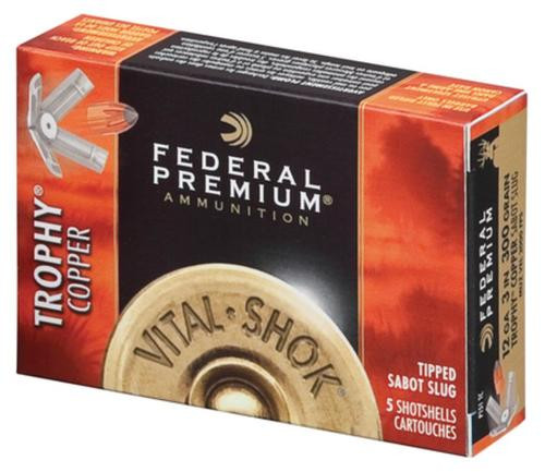 "Federal Vital-Shok 12 Ga, 3"", 2000 FPS, 300gr, Trophy Copper Sabot Slug 5 Per Box"