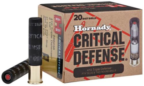 Hornady Critical Defense Triple Defense 410 Ga, Slug/Round Ball, 20rd Box