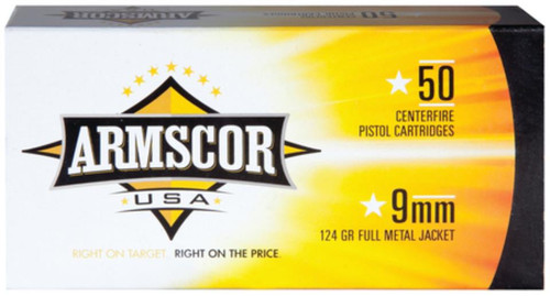 Armscor 9mm, 124 Gr, FMJ, 50rd/Box