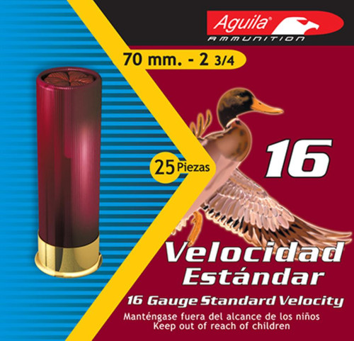 "Aguila Hunting Standard Velocity 16 Ga, 2.75"", 1oz, 2 Shot, 250rd/Case (10 Boxes of 25rd)"