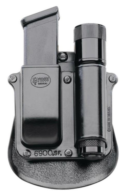"Fobus Paddle Pouch, Fits Any 1"" Diameter Flashlight, Glock, H&K 9/40 Mags, Right Hand, Kydex, Black"
