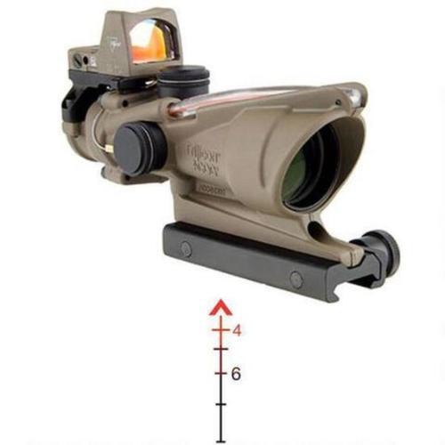 Trijicon ACOG 4x32 Riflescope, Illuminated Red Chevron .223 Ballistic Reticle, 1/2 MOA, Flattop Mount & RMR Sight, Dark Earth Brown