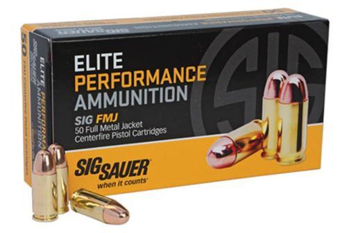 Sig Ammo 38 Super + P 125Gr Elite Ball FMJ 50rd Box